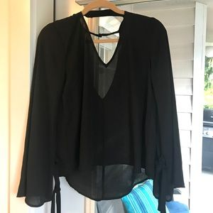 Black Flowy Long Sleeve Blouse